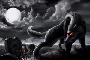 страшный оборотень волк