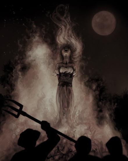смерть ведьмы на костре